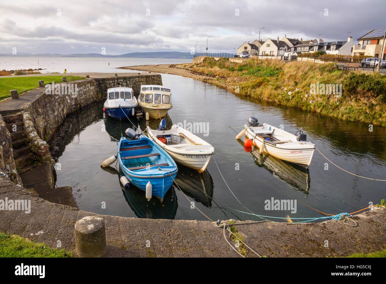 Blackwaterfoot harbour, Isle of Arran, North Ayrshire, Scotland, United Kingdom - Stock Image
