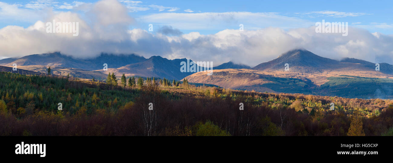 View of Goatfell and the Northern Mountains, Isle of Arran, North Ayrshire, Scotland, United Kingdom - Stock Image