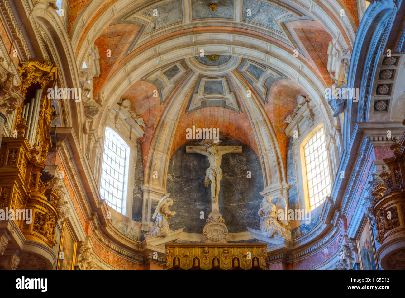 Main Chapel with ceiling, Evora Cathedral, Evora, UNESCO, Portugal Stock Photo