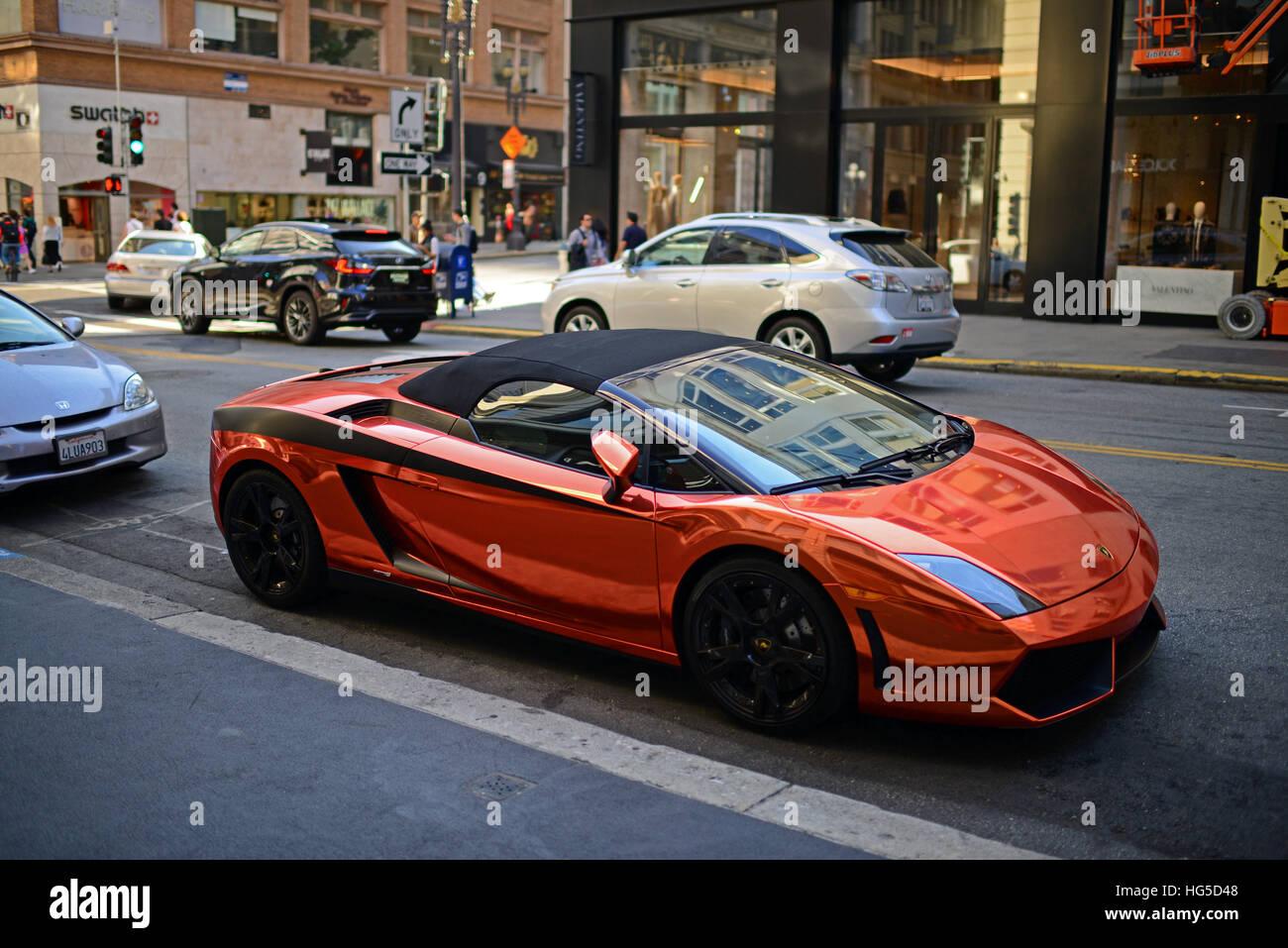 Perfect Bright Colored Lamborghini Parked In Union Square Area, Financial District,  San Francisco.