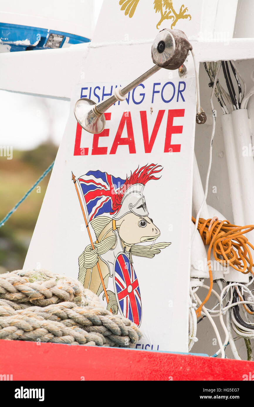 'Fishing for Leave' sign on fishing boat in Portree Harbour, Isle of Skye, Scotland, UK - Stock Image
