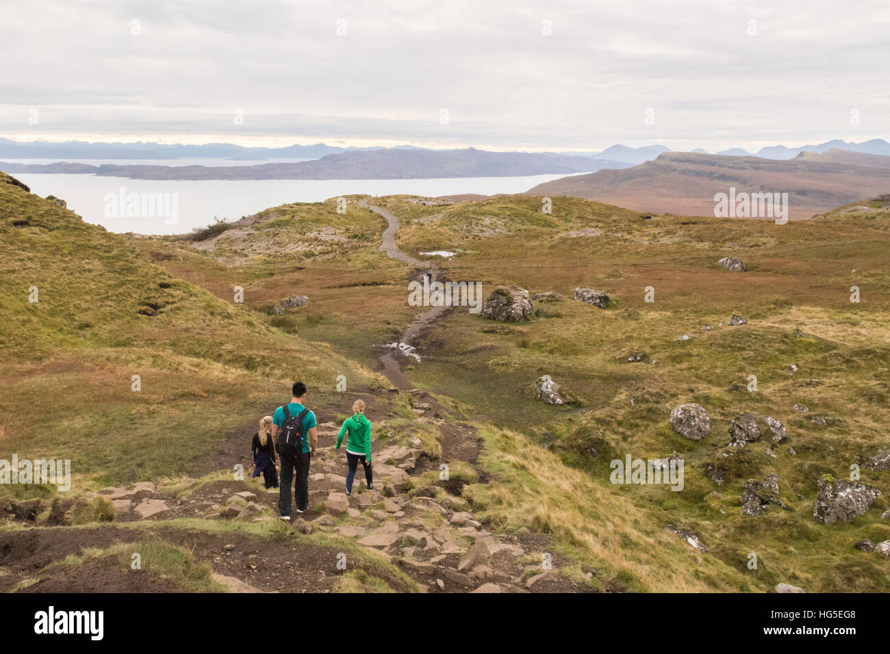 Old Man of Storr, Isle of Skye - footpath leading back down to the road looking towards Isle of Raasay & Scottish - Stock Image