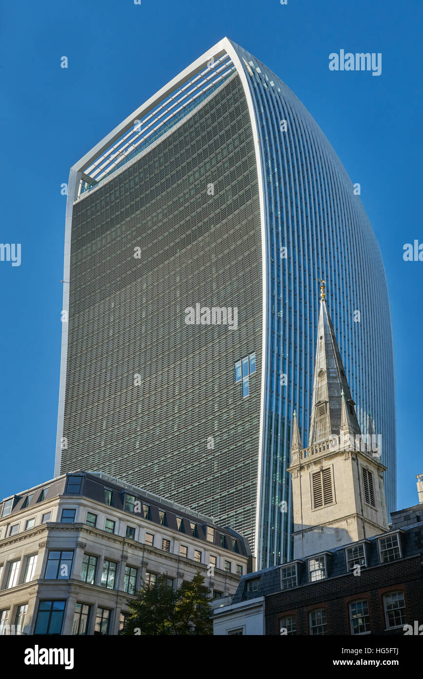 Walkie talkie building,  London.   City of London old and new - Stock Image