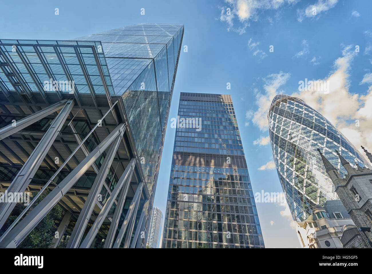 The Gherkin, Cheesegrater,  London financial district.  Tall buildings.  City of London - Stock Image