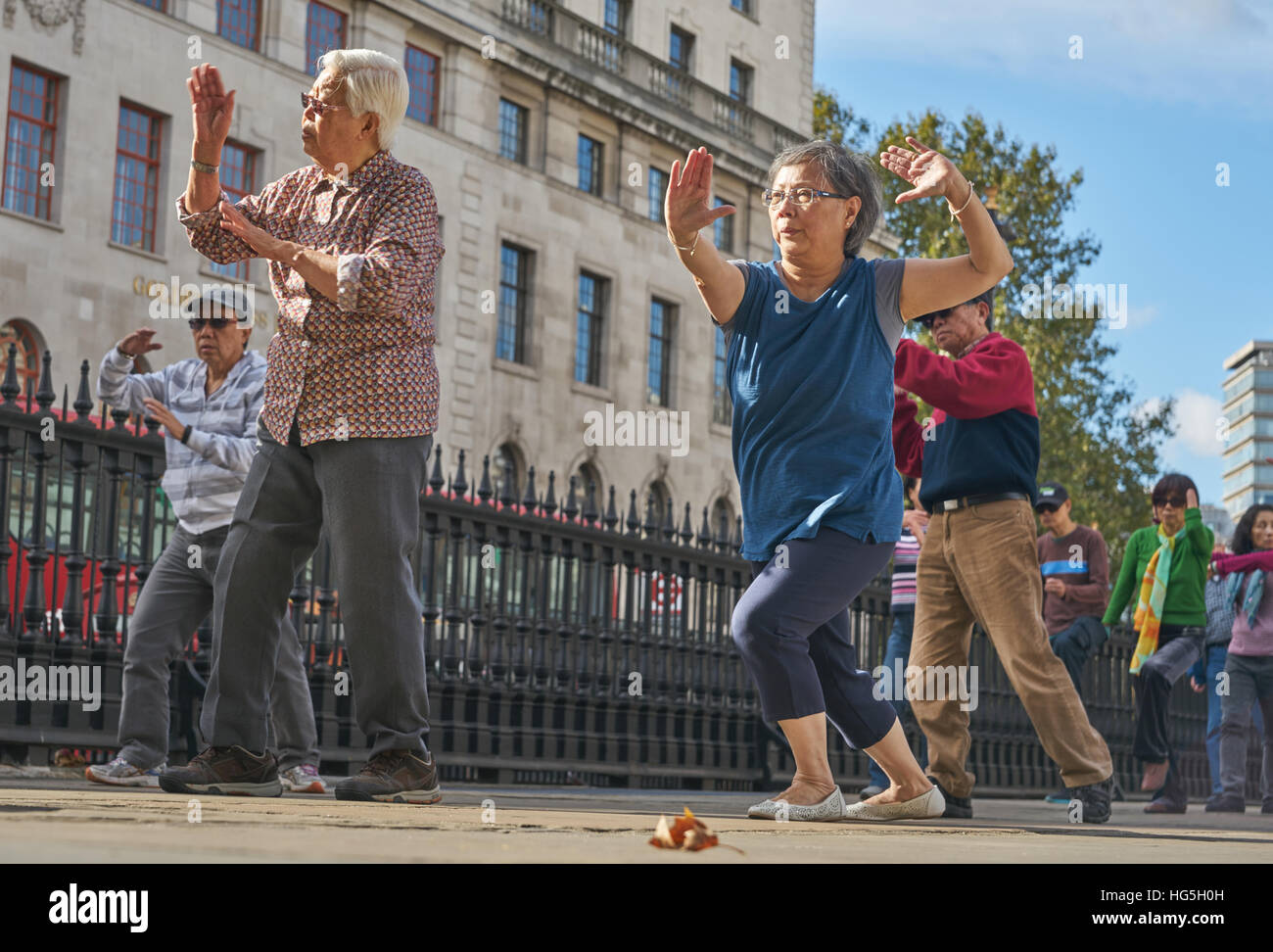 outdoor tai chi in London. chinese community in London - Stock Image