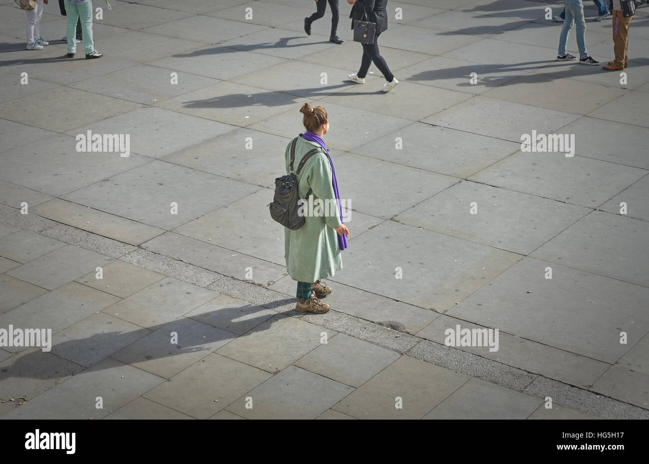 isolation  Alone in the city.   Lost woman.  isolated. - Stock Image
