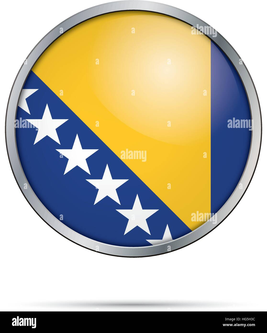 Bosnia and Herzegovina flag glass button style with metal frame. - Stock Vector