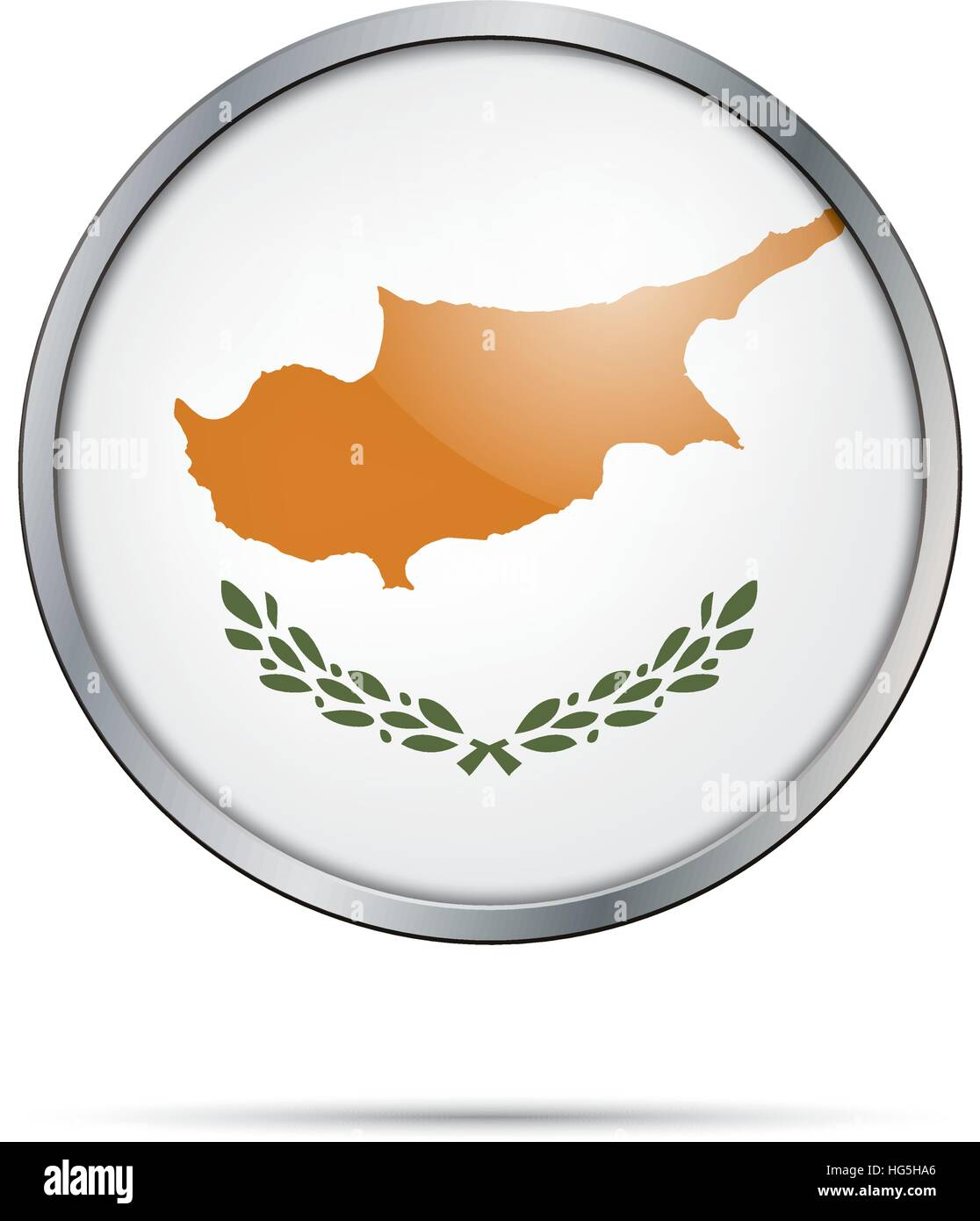 Cyprus flag glass button style with metal frame. - Stock Image