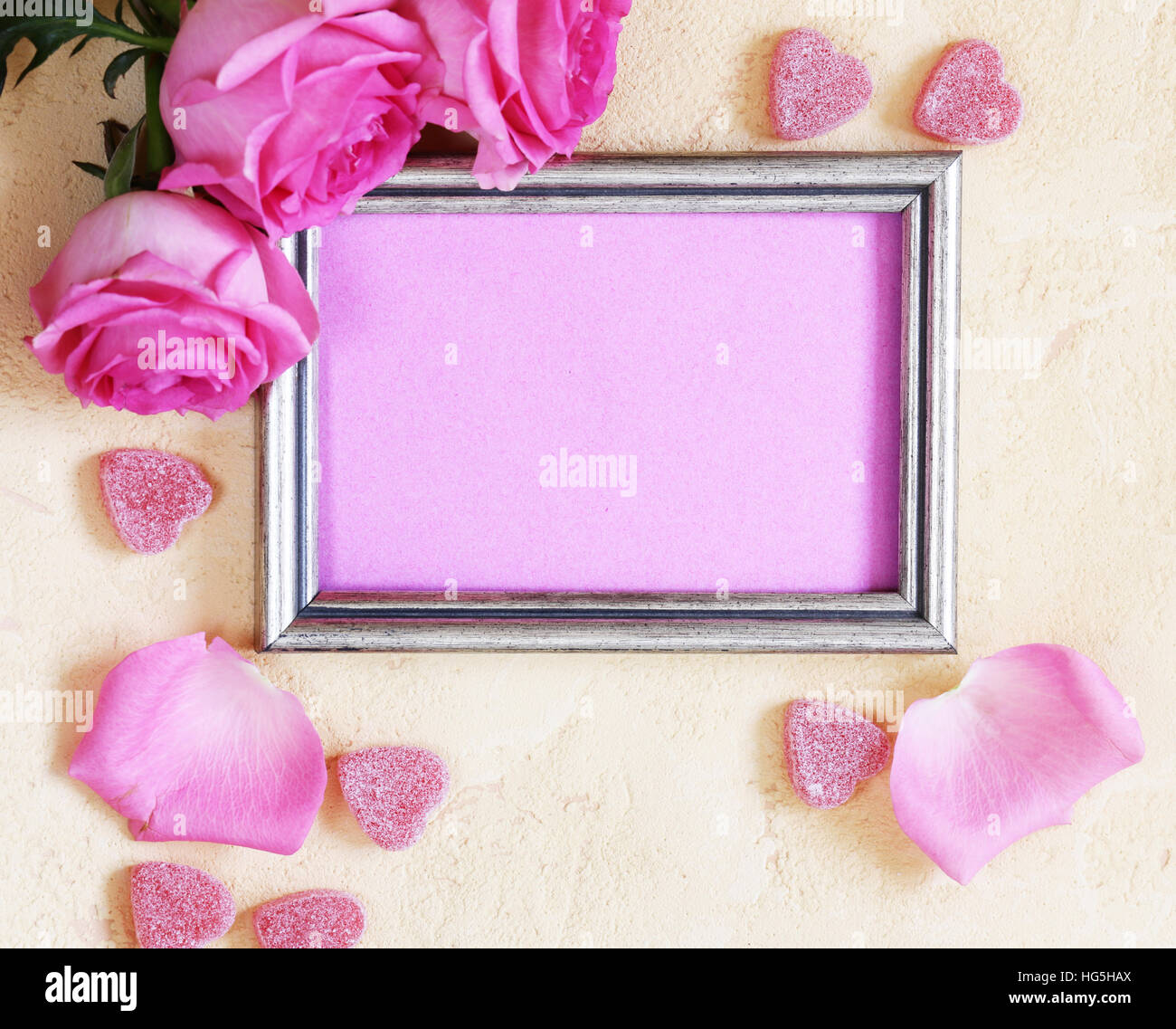 Pink Rose Flowers Frame For Text And Hearts For Valentines Holiday