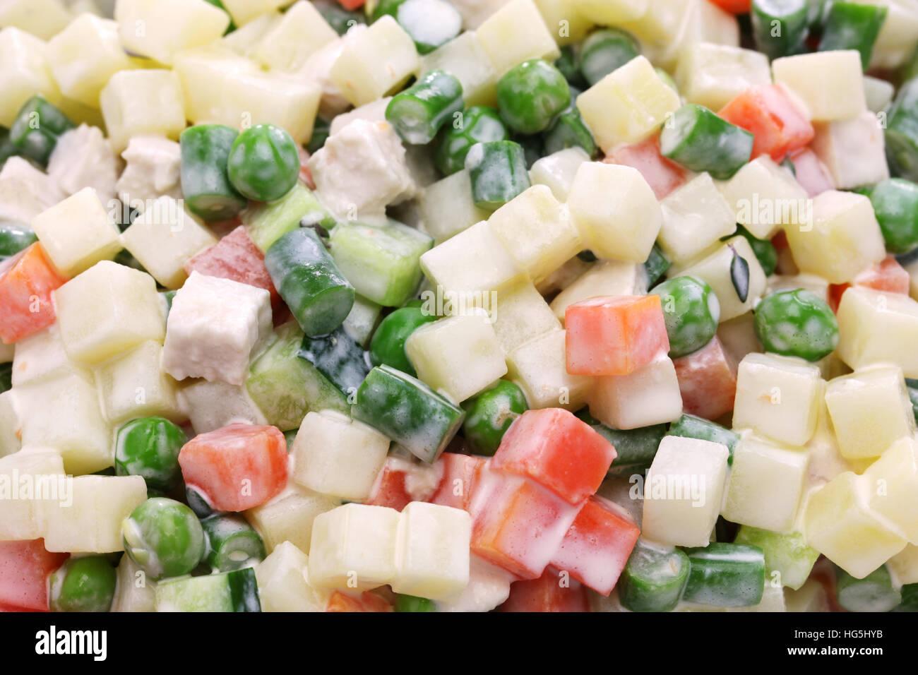 macedonia salad, macedoine de legumes, mixed vegetable salad, french cuisine - Stock Image