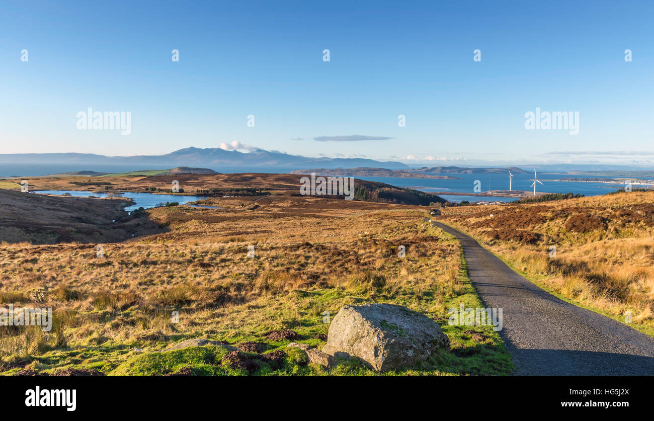 Fairlie Moor Road Looking over to Arran Hills and Cumbrae's, - Stock Image