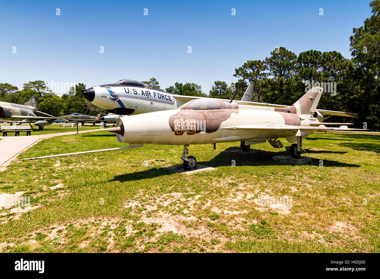 Mikoyan-Gurevich MiG-21F Fishbed C/E, '014', displayed in typical Russian Air Force markings. This is most likely Stock Photo