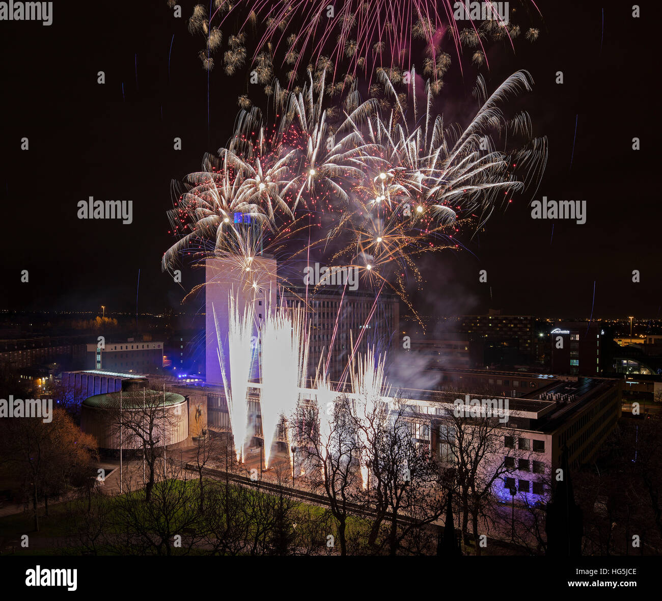 Firework display above the Civic Centre in Newcastle upon Tyne on New Year Eve - Stock Image