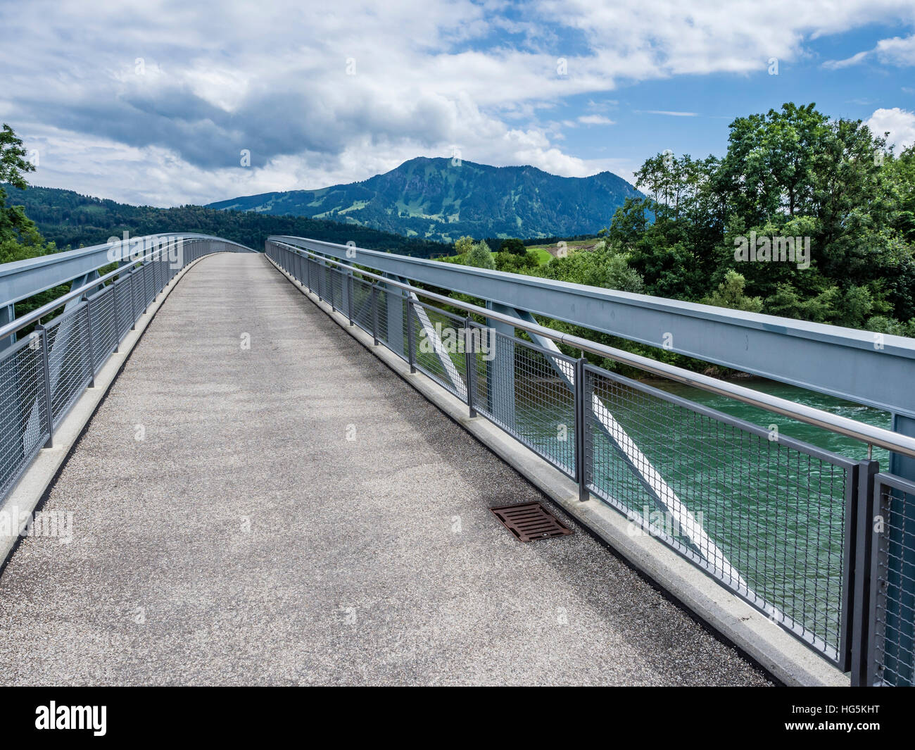 Bridge over river Iller, near Immenstadt, mountain Grünten in the back, Allgaue, Bavaria, Germany Stock Photo