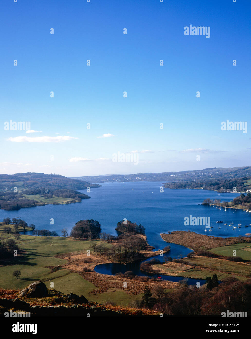 The head of Windermere  at Waterhead and Ambleside Roman Fort at Borrans Fields Ambleside Lake District Cumbria - Stock Image