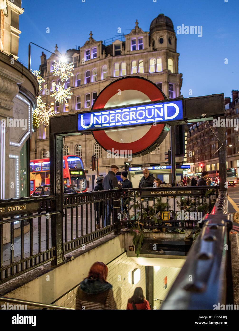 Knightsbridge Underground Station London UK - Stock Image