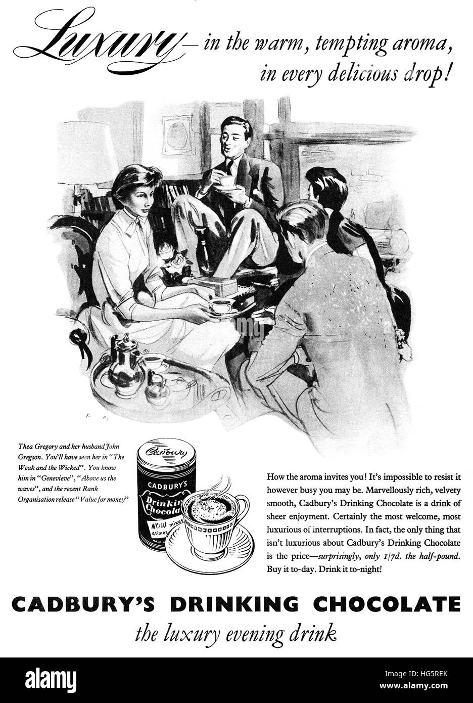 1956 British advertisement for Cadbury's Drinking Chocolate illustrated by Francis Marshall - Stock Image