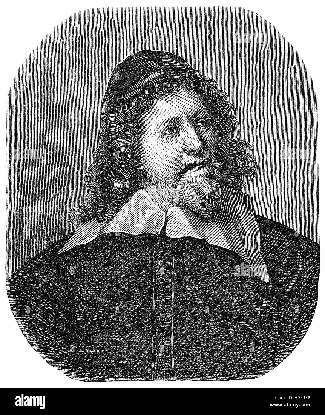 Black and white engraving of the architect Inigo Jones, after the painting by Anthony Van Dyck, from the November - Stock Image