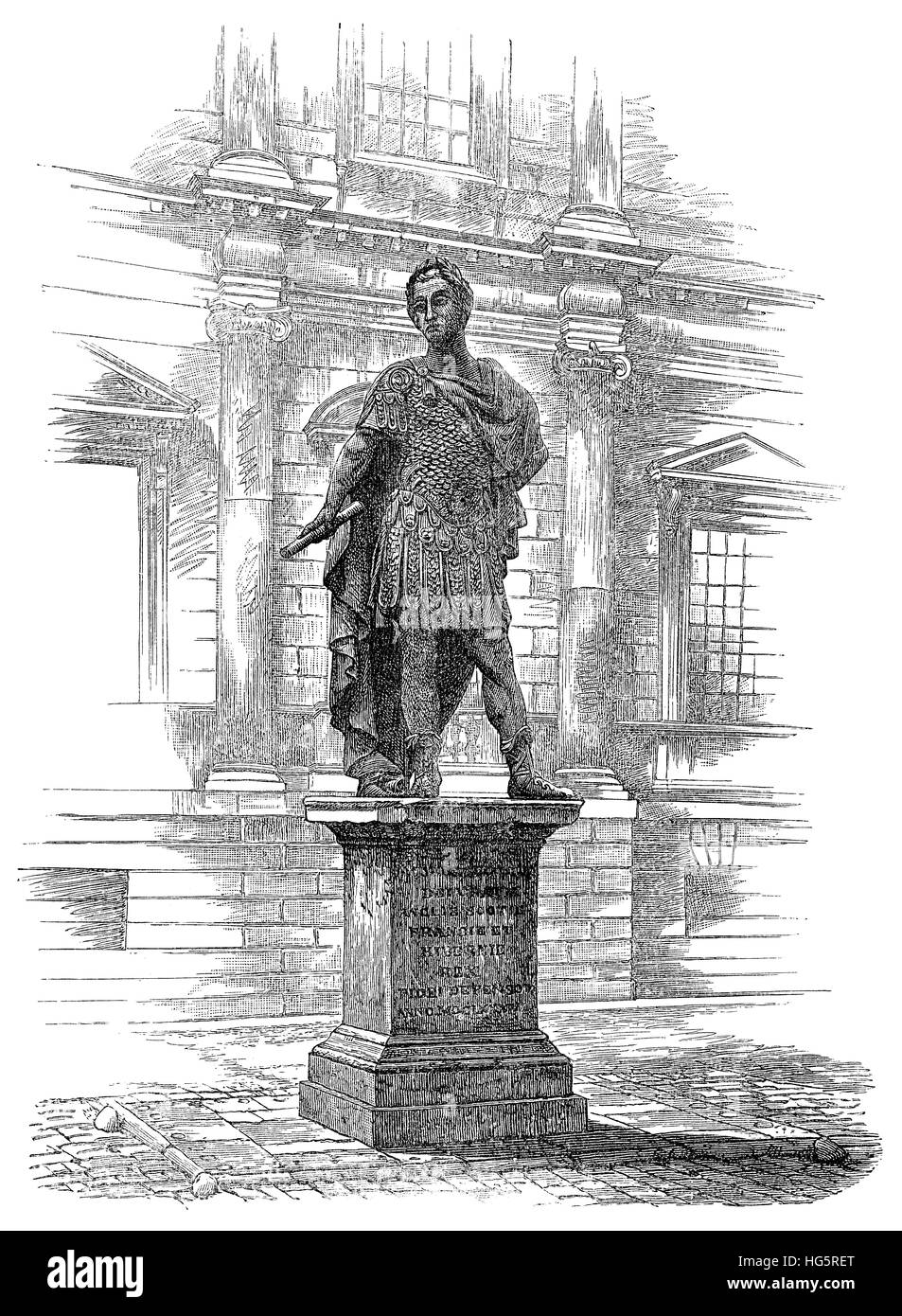 Black and white engraving of a statue of King James II, from the studio of Grinling Gibbons, from the November 1883 - Stock Image