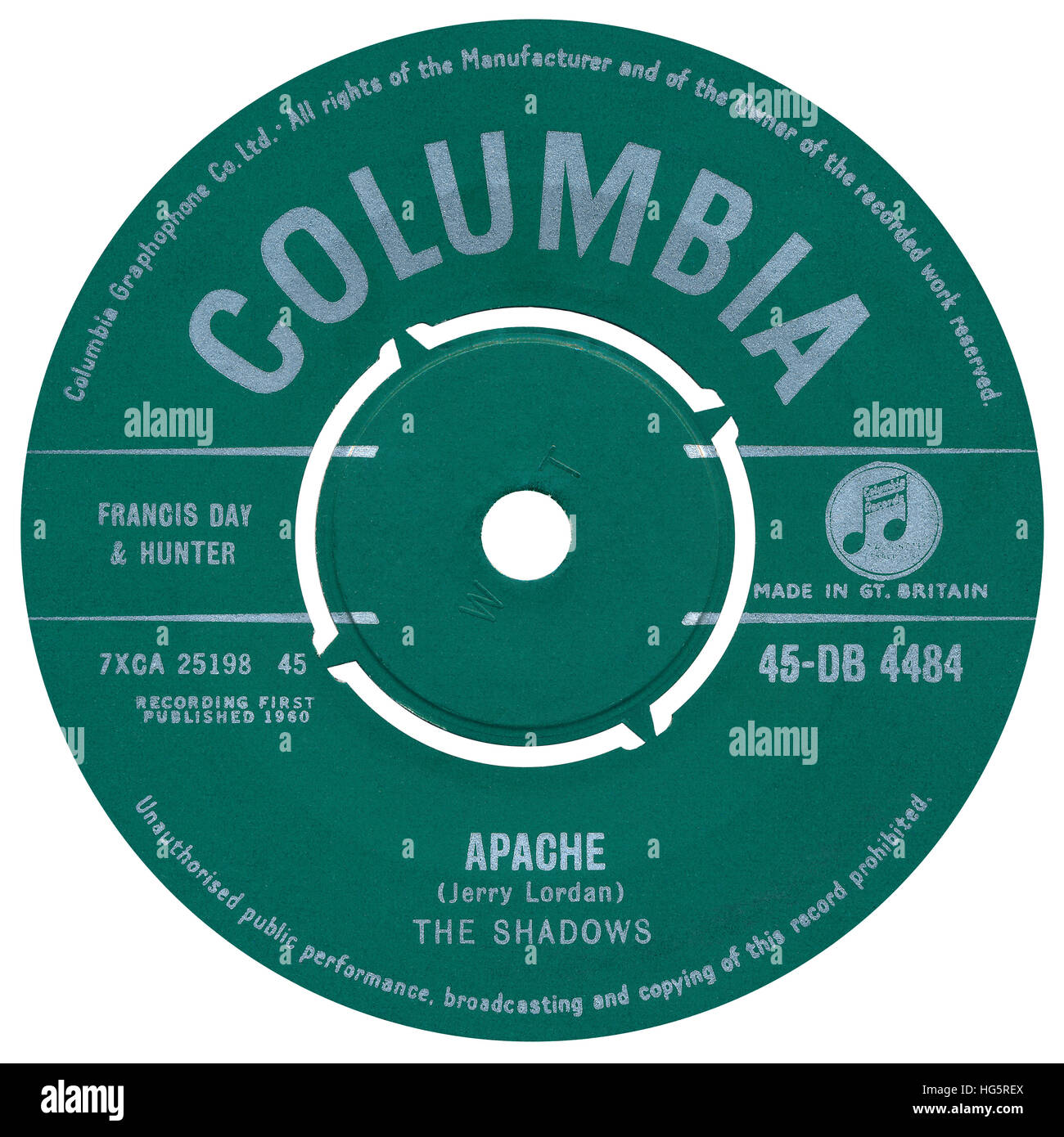 45 RPM 7' UK record label of Apache by The Shadows on the Columbia label from 1960 - Stock Image