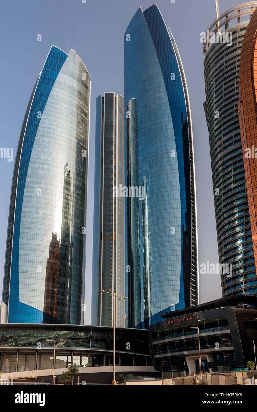 Etihad Towers, Abu Dhabi, United Arab Emirates - Stock Image