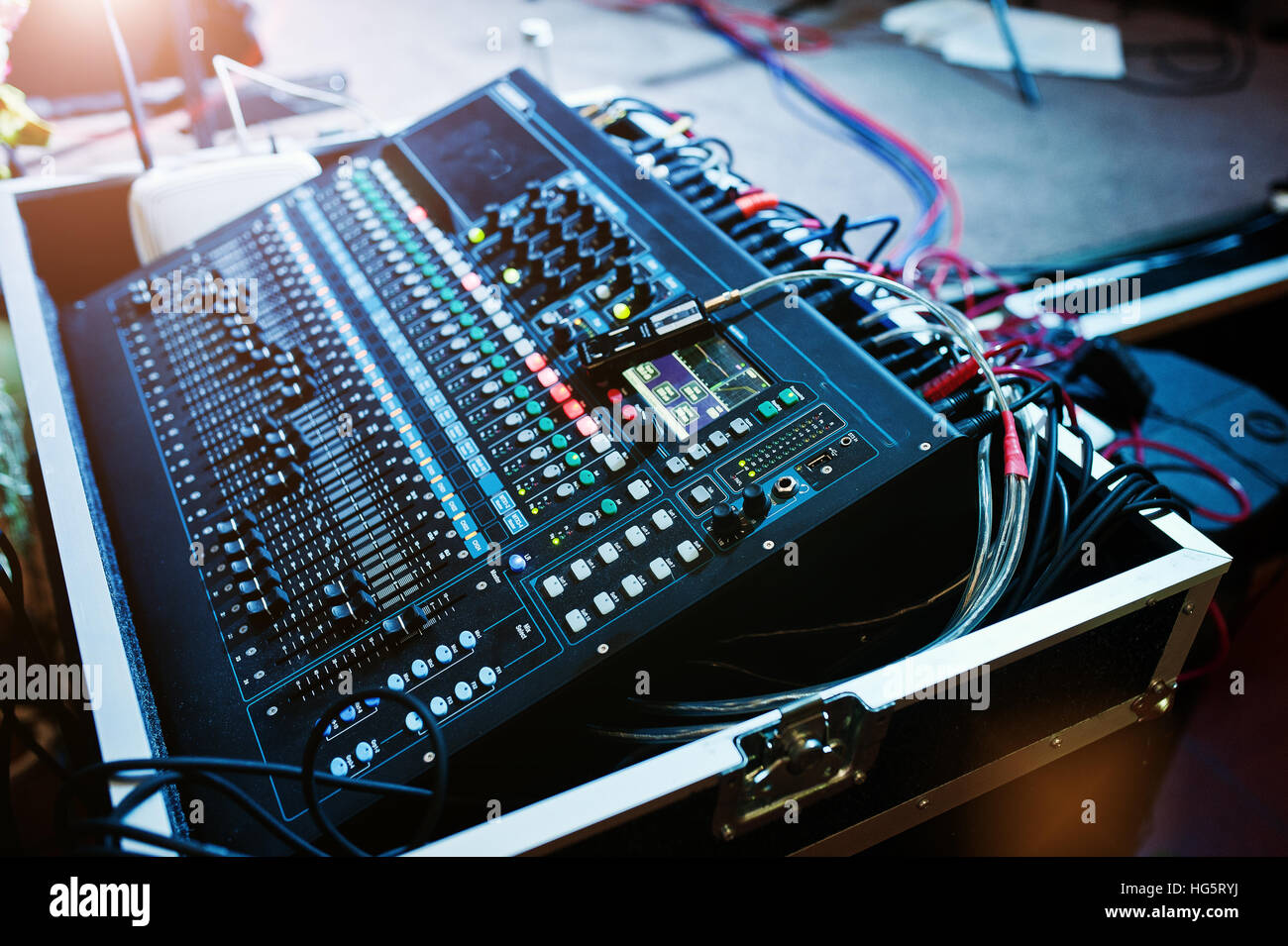 digital mixing console sound mixer control panel closeup of audio stock photo 130435638 alamy. Black Bedroom Furniture Sets. Home Design Ideas