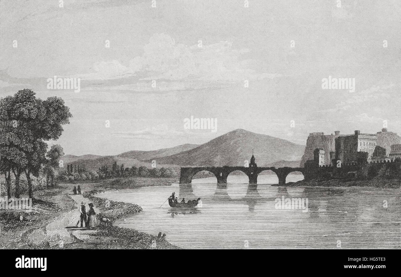 Medieval Pont d´Avignon (bridge), France. 19th century steel engraving by Breton and Lemaitre direxit. Stock Photo