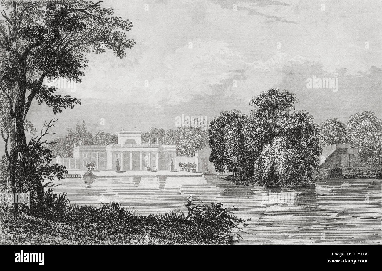 Lazienki Palace, Royal Baths Park, Warsaw, Poland. 19th century steel engraving by Arnout, Desaulx and Lemaitre - Stock Image