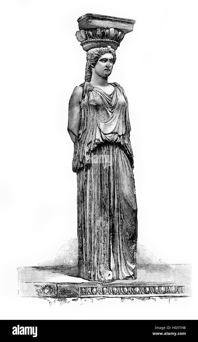 Caryatid statue of ancient Greek Erechtheion temple of Athens Acropolis dedicated to Athena and Poseidon - Stock Image