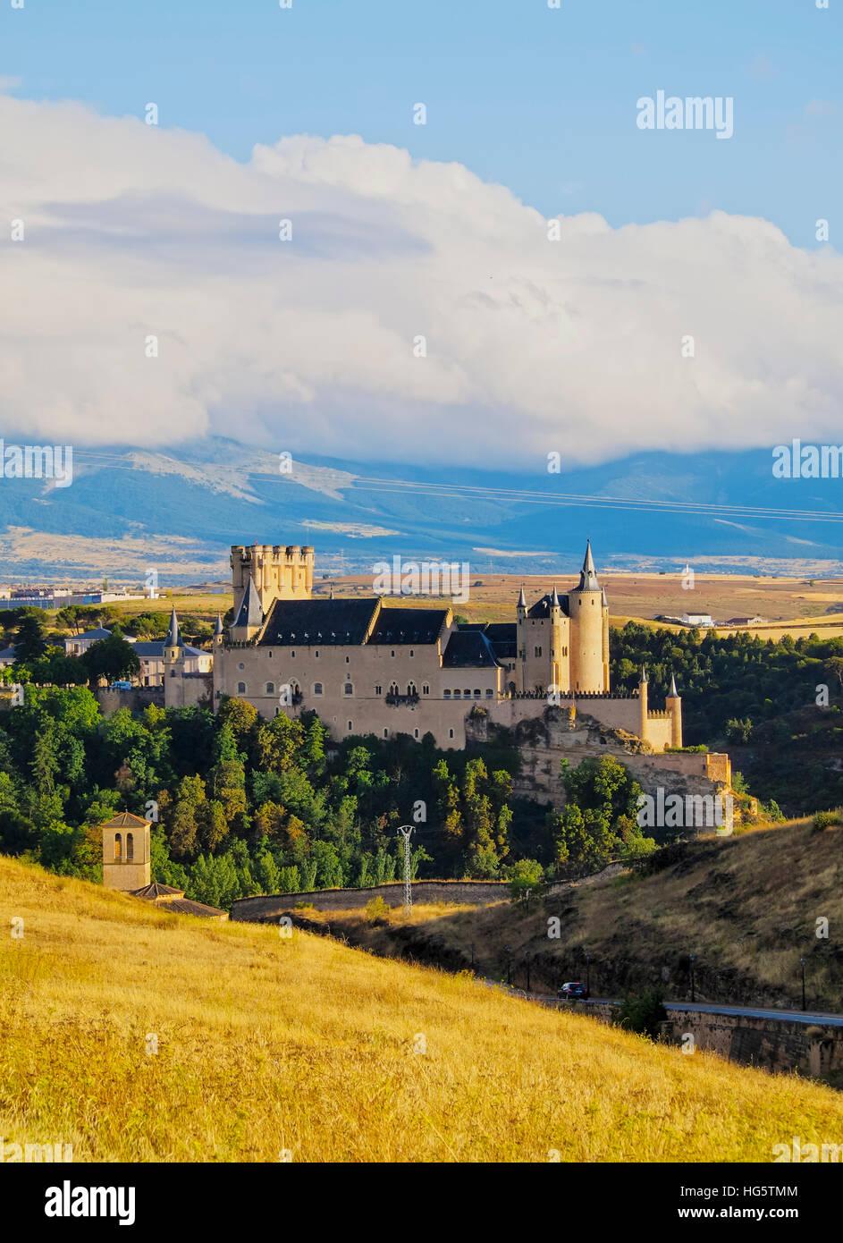Spain, Castile and Leon, Segovia, View of the Alcazar. - Stock Image