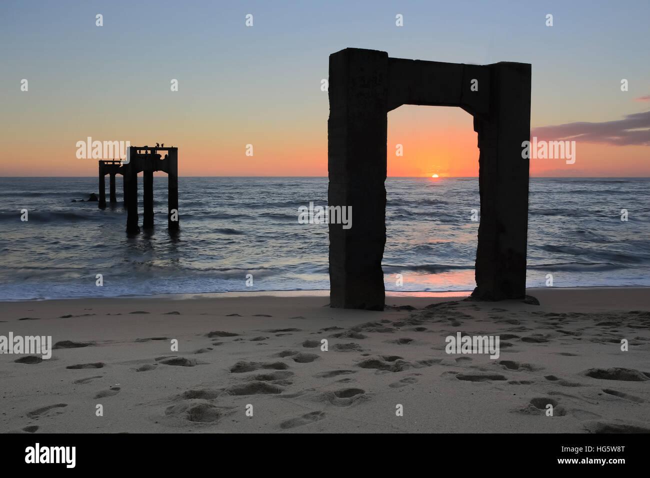 Davenport Pier Beach Sunset - Stock Image