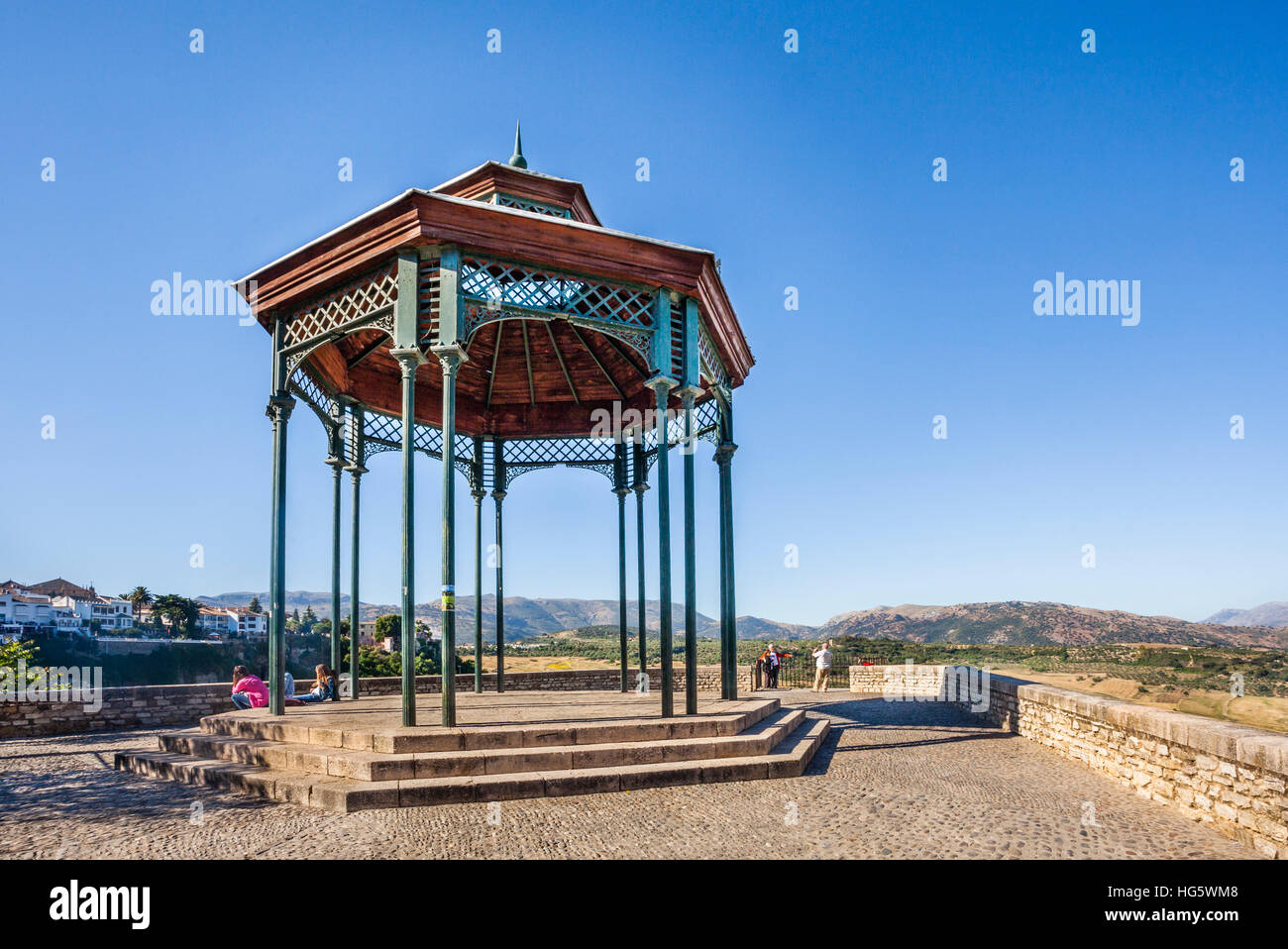 Spain, Andalusia, Province of Malaga, Ronda, view of the countryside and the surrounding Sierras from Mirador de - Stock Image