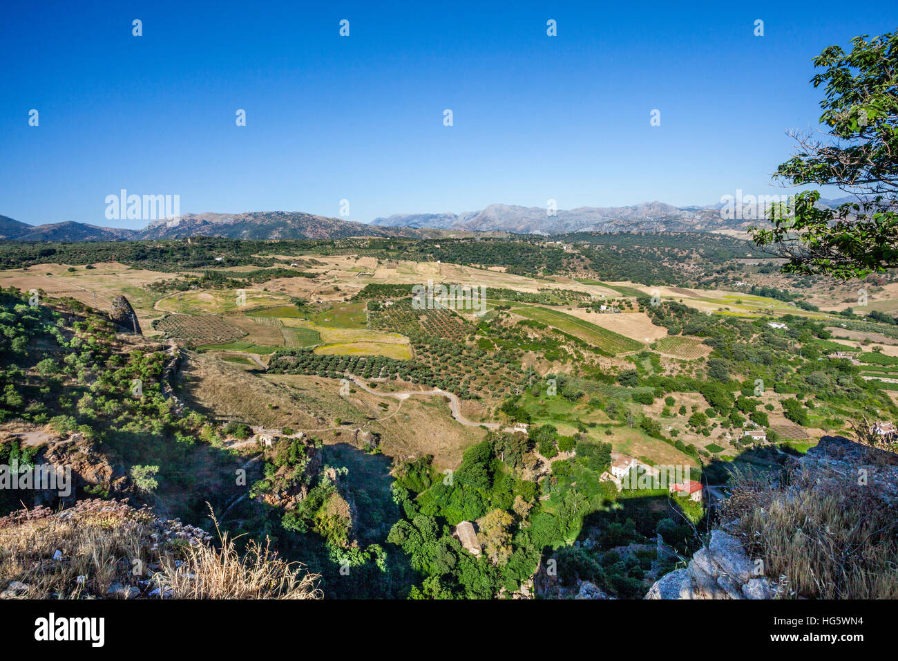 Spain, Andalusia, Province of Malags, Ronda, view of the countryside and the surrounding Sierras from Mirado de - Stock Image