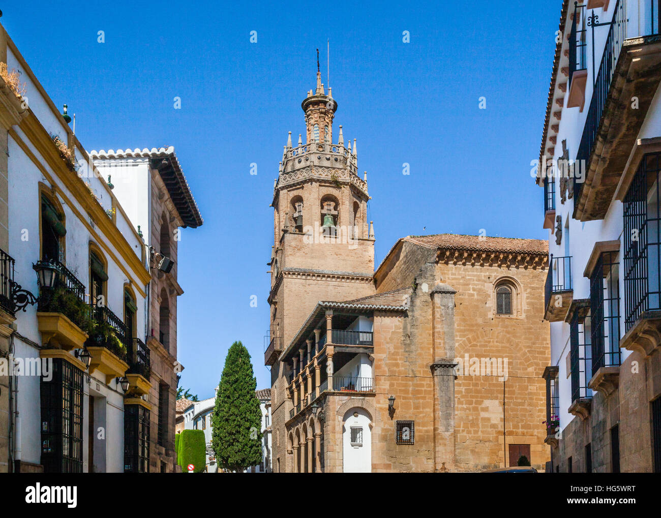 Spain, Andalusia, Province of Malaga, Ronda, Church of Santa Maria Mayor (Parroquia Santa Maria Mayor), originally - Stock Image