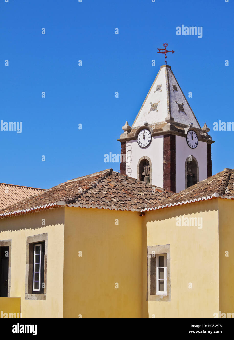 Portugal, Madeira Islands, Porto Santo, Vila Baleira, View of the Casa de Cristovao Colombo Museum and the Church - Stock Image