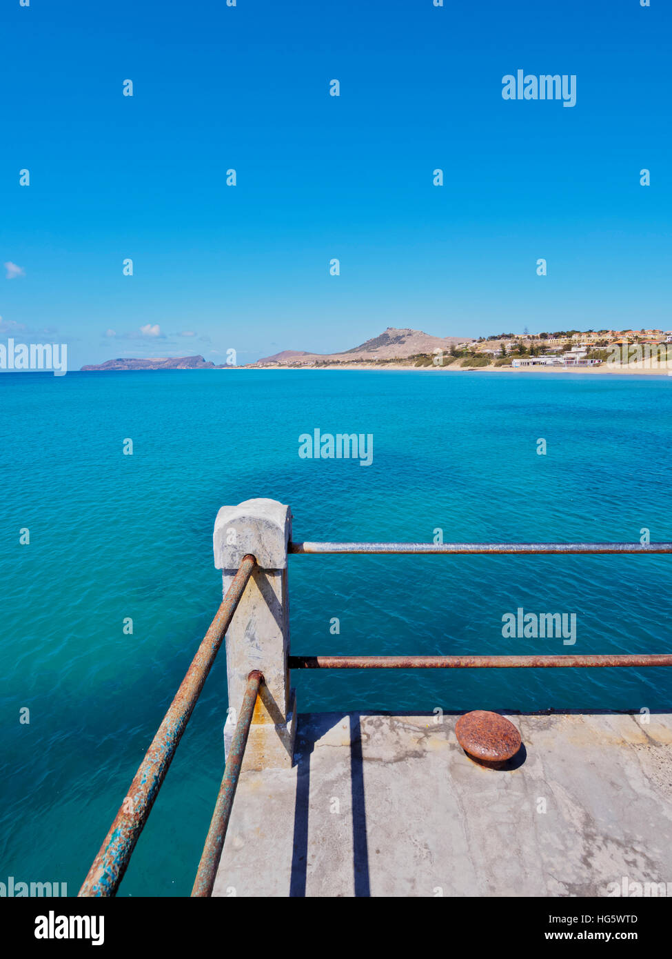Portugal, Madeira Islands, Porto Santo, Vila Baleira, View of the pier. - Stock Image