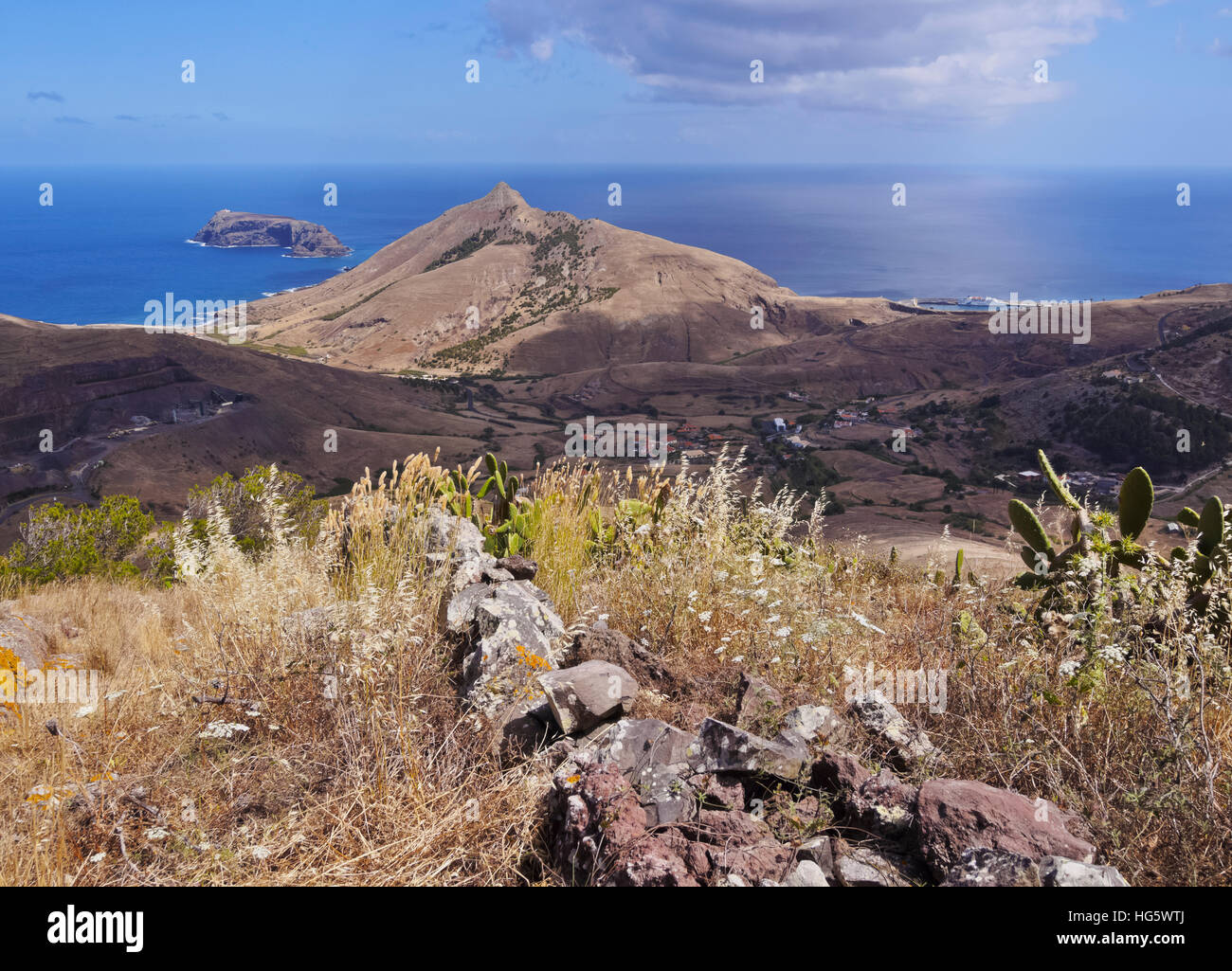 Portugal, Madeira Islands, Landscape of the Porto Santo Island. Stock Photo