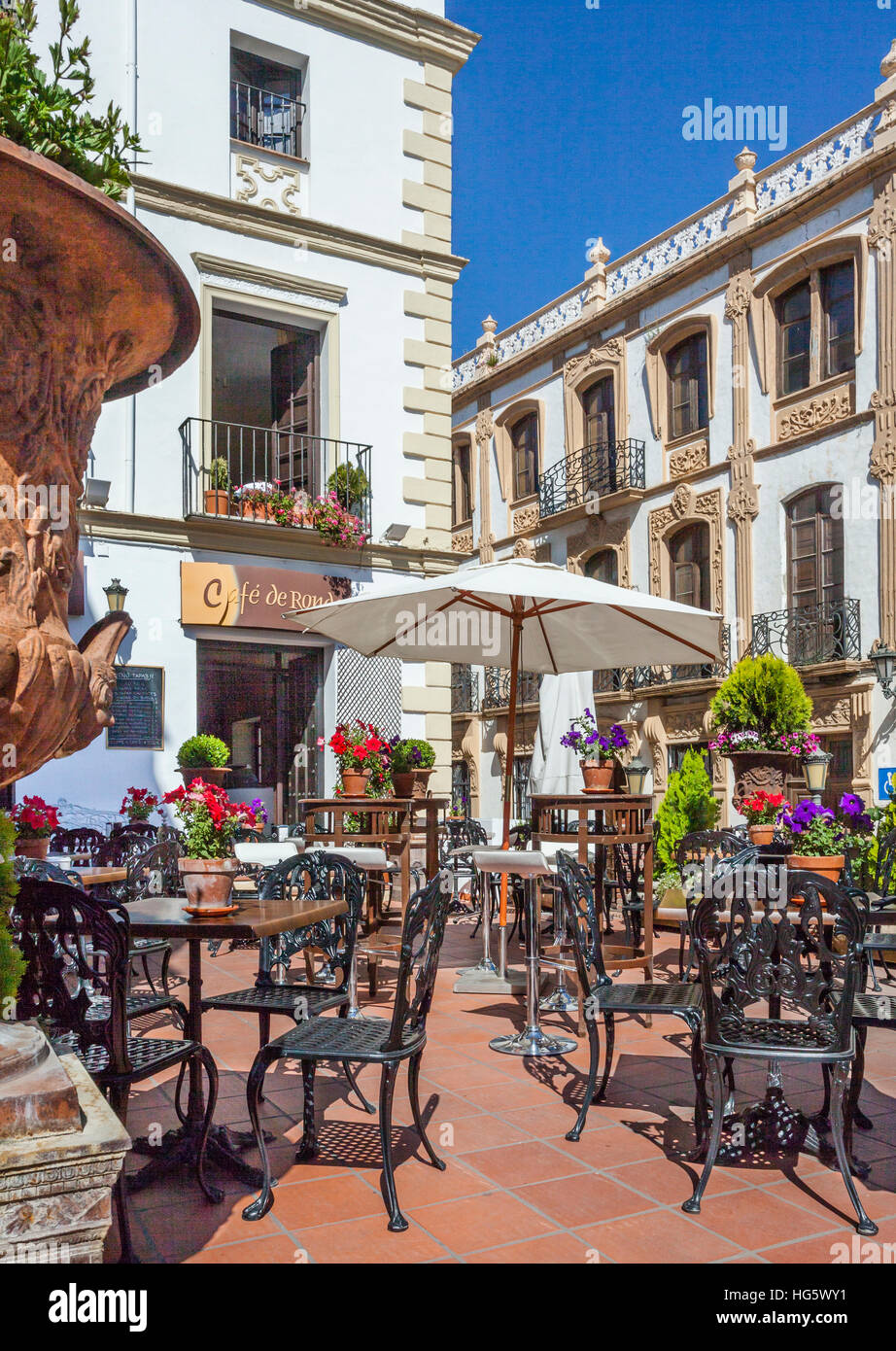 Spain, Andalusia, Province of Malaga, cafe terrace in La Ciudad, the Old Town of Ronda - Stock Image