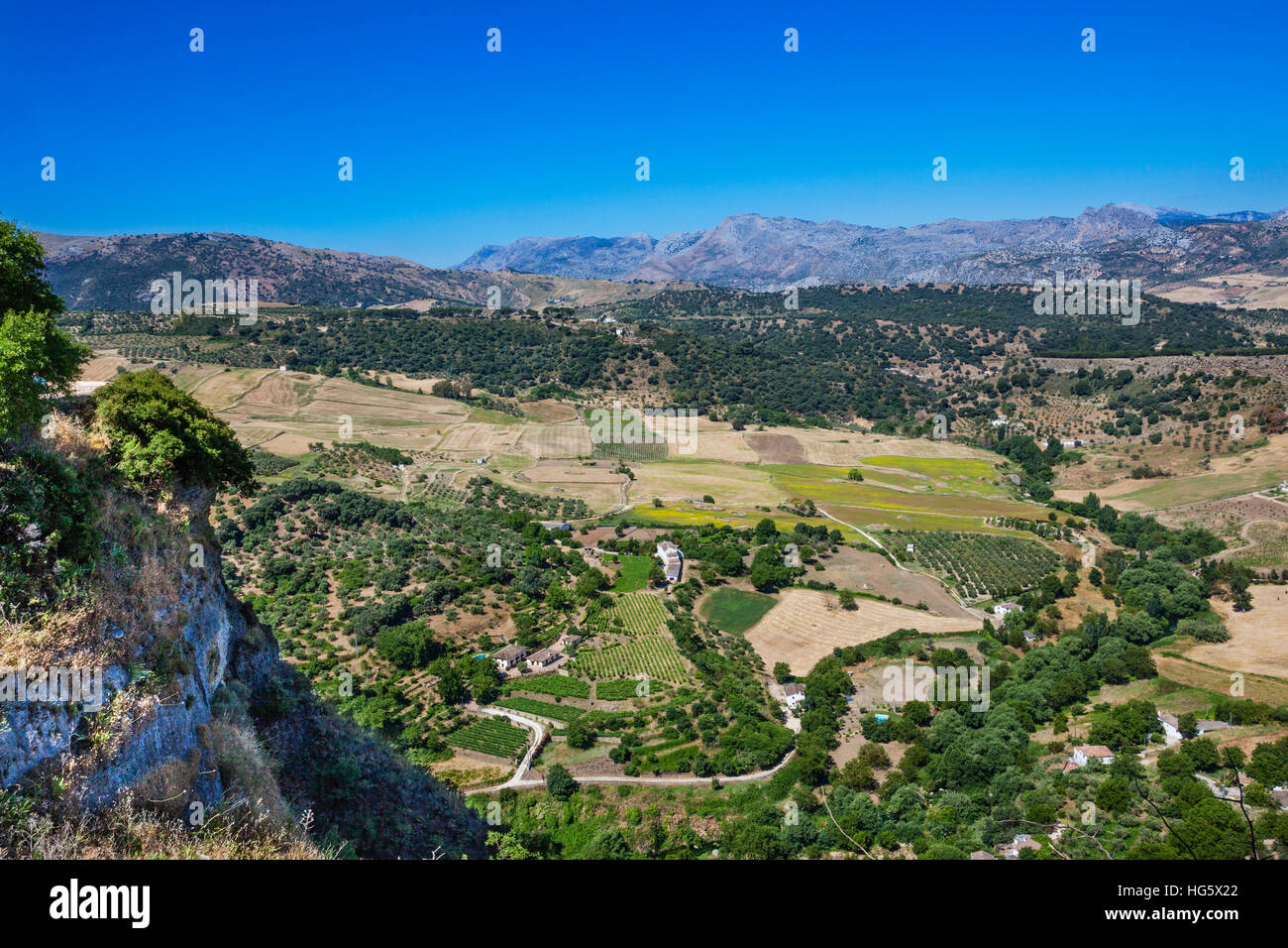 Spain, Andalusia, Province of Malag, Ronda, view of the countryside and the surrounding Sierras from Mirado de Ronda - Stock Image