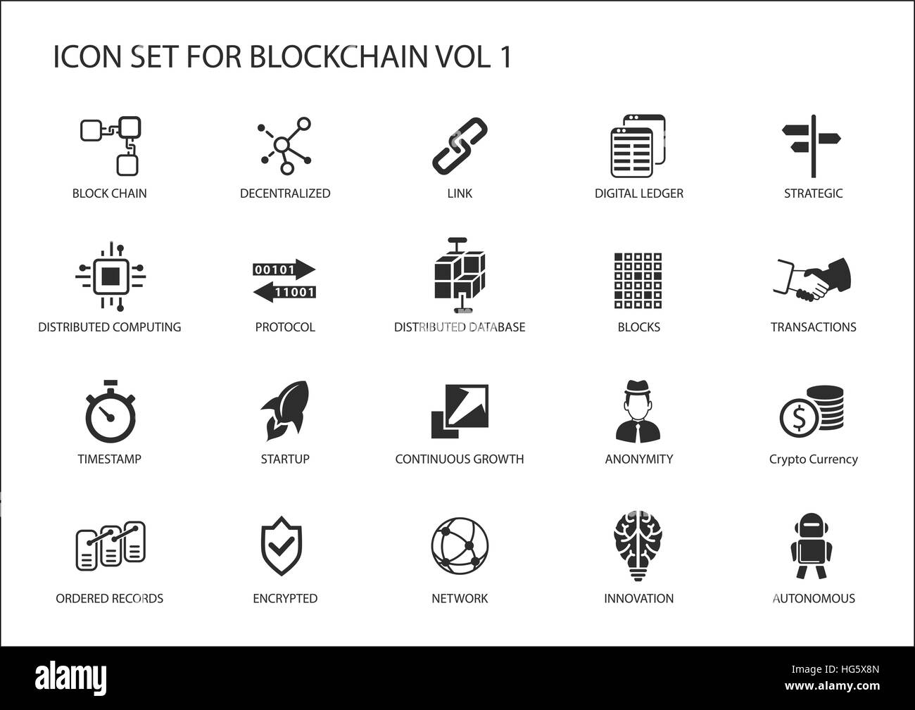 Blockchain vector icon set - Stock Vector