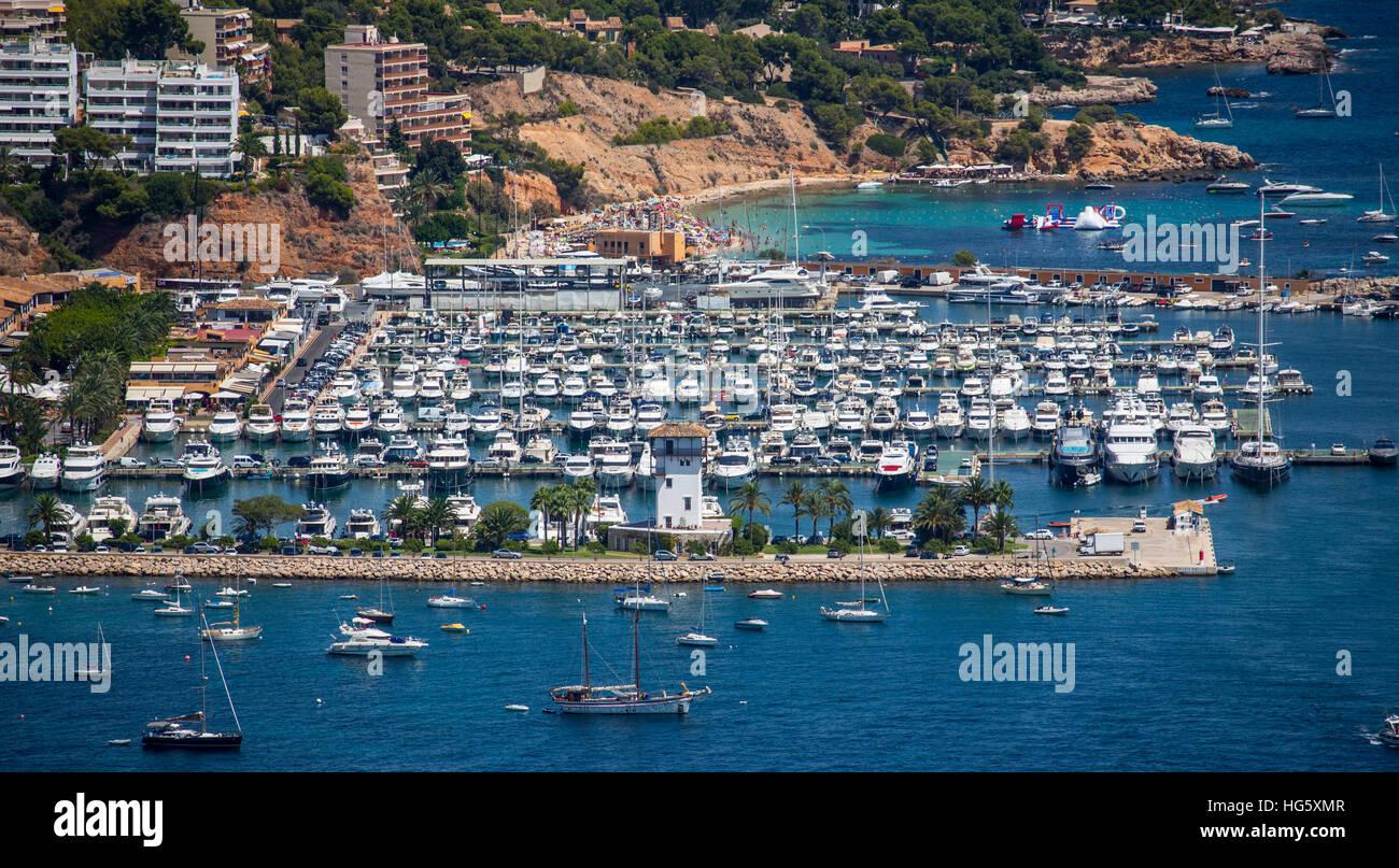 Aerial view Puerto Portals marina Mallorca Balearics Spain - Stock Image