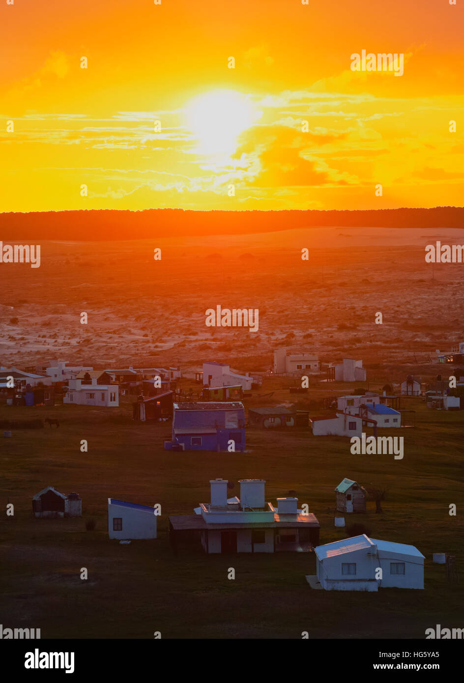 Uruguay, Rocha Department, Elevated view of the Cabo Polonio at sunset. Stock Photo