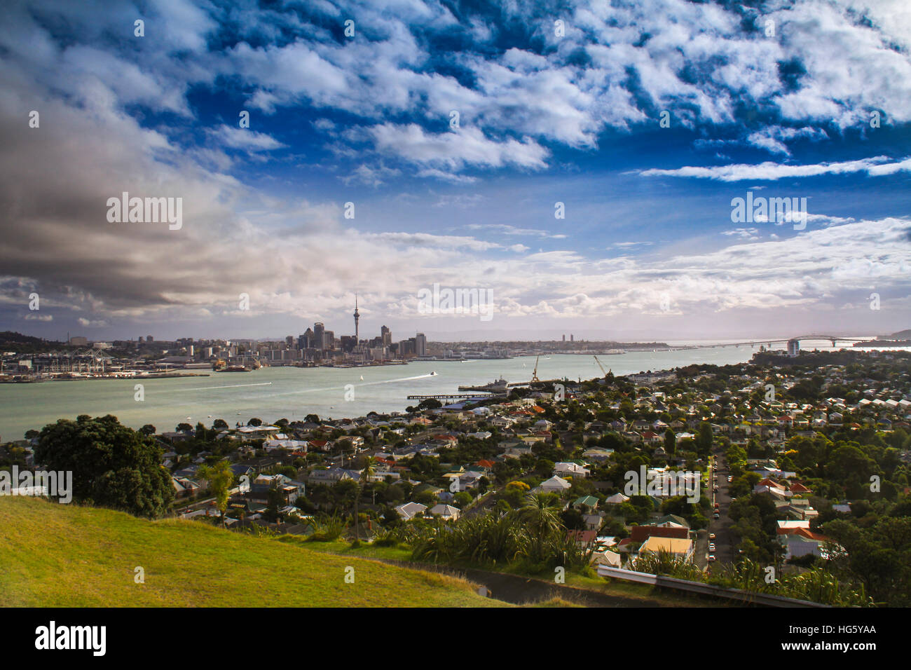 Panoramic view of Auckland Harbor from Mt. Eden, New Zealand - Stock Image