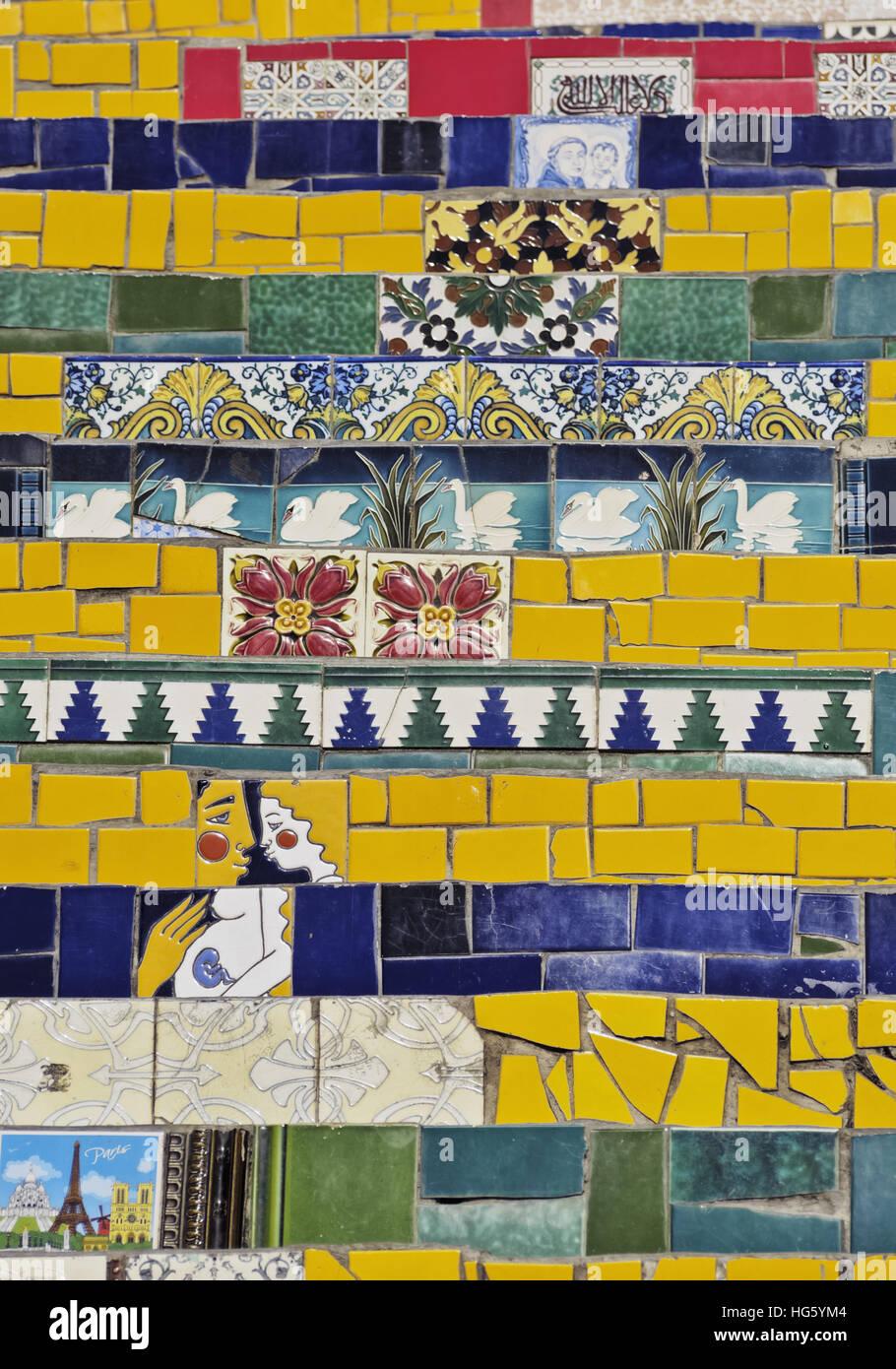 Brazil, City of Rio de Janeiro, Detailed view of the Selaron Steps connecting Lapa and Santa Teresa Neighbourhoods. - Stock Image