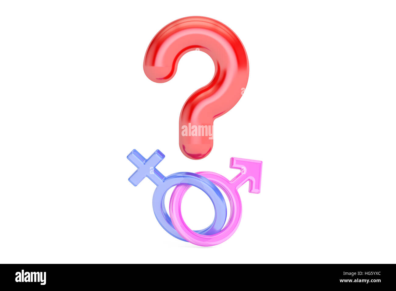 Question Mark With Gender Female And Male Symbols 3d Rendering