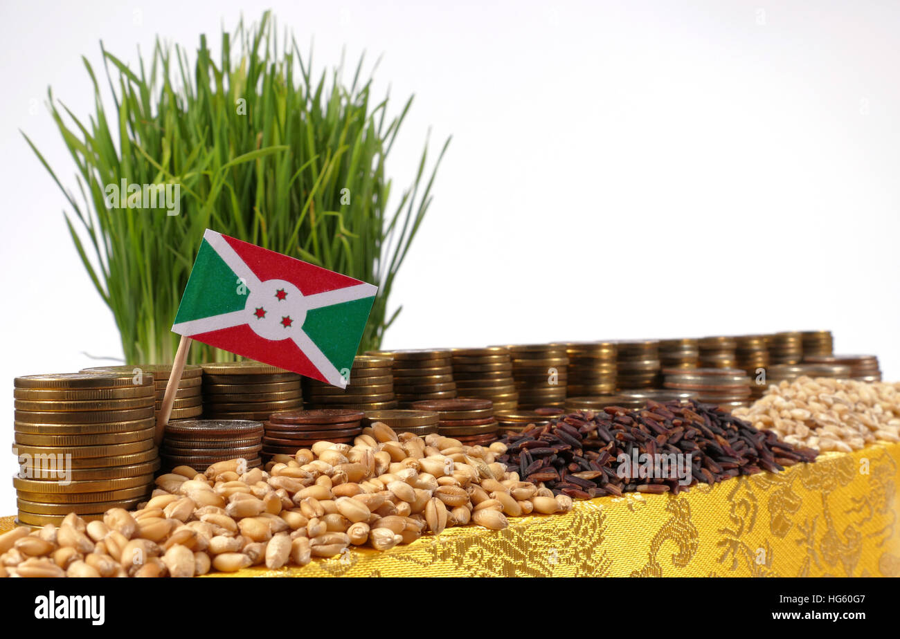 Burundi flag waving with stack of money coins and piles of wheat and rice seeds - Stock Image
