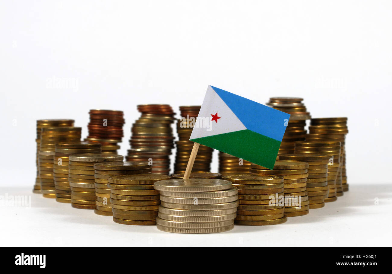 Djibouti flag waving with stack of money coins - Stock Image