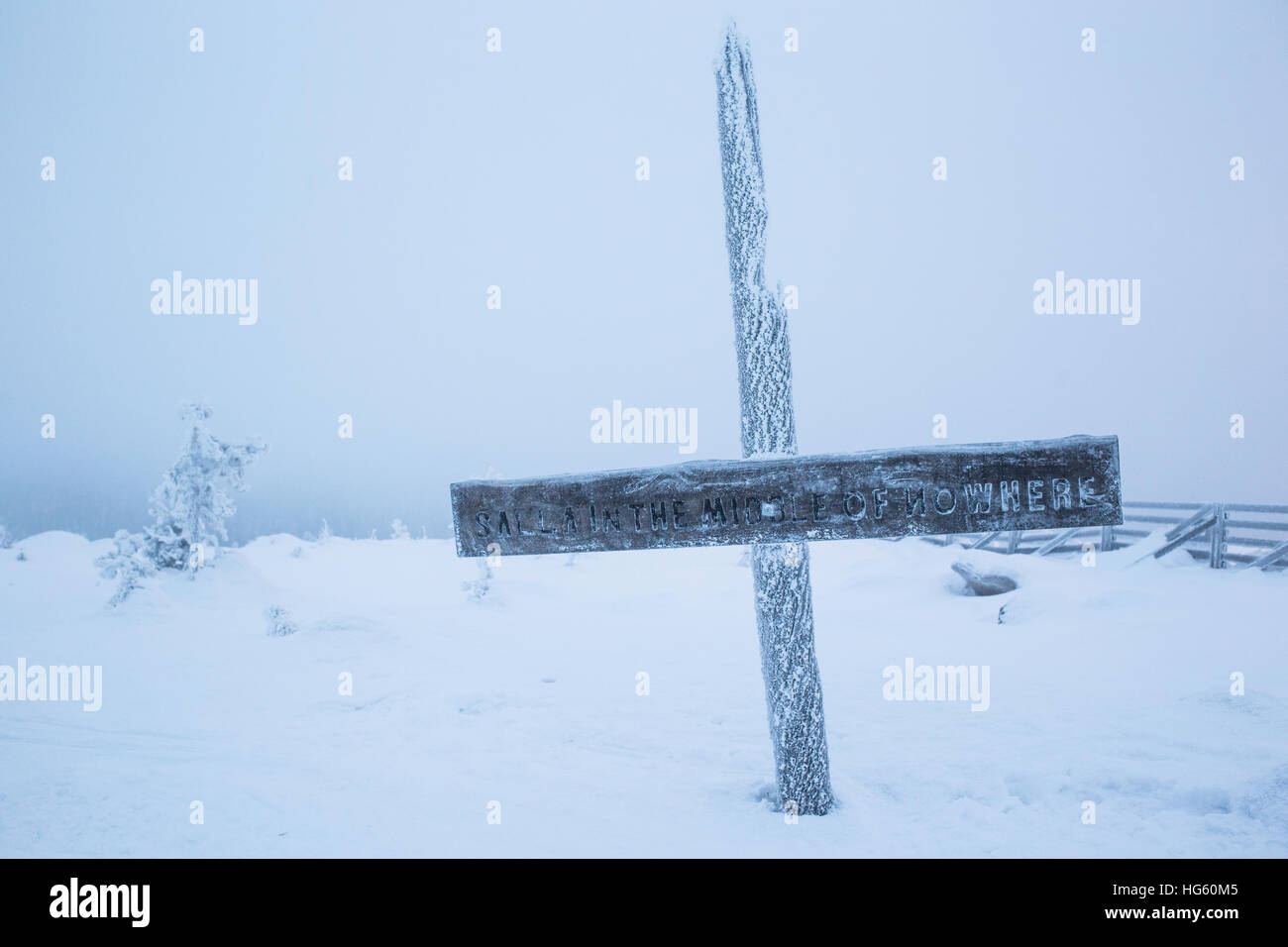 Temperatures hovered around -5 Centigrade in Salla, Finand this morning, Saturday 24th December.. Stock Photo