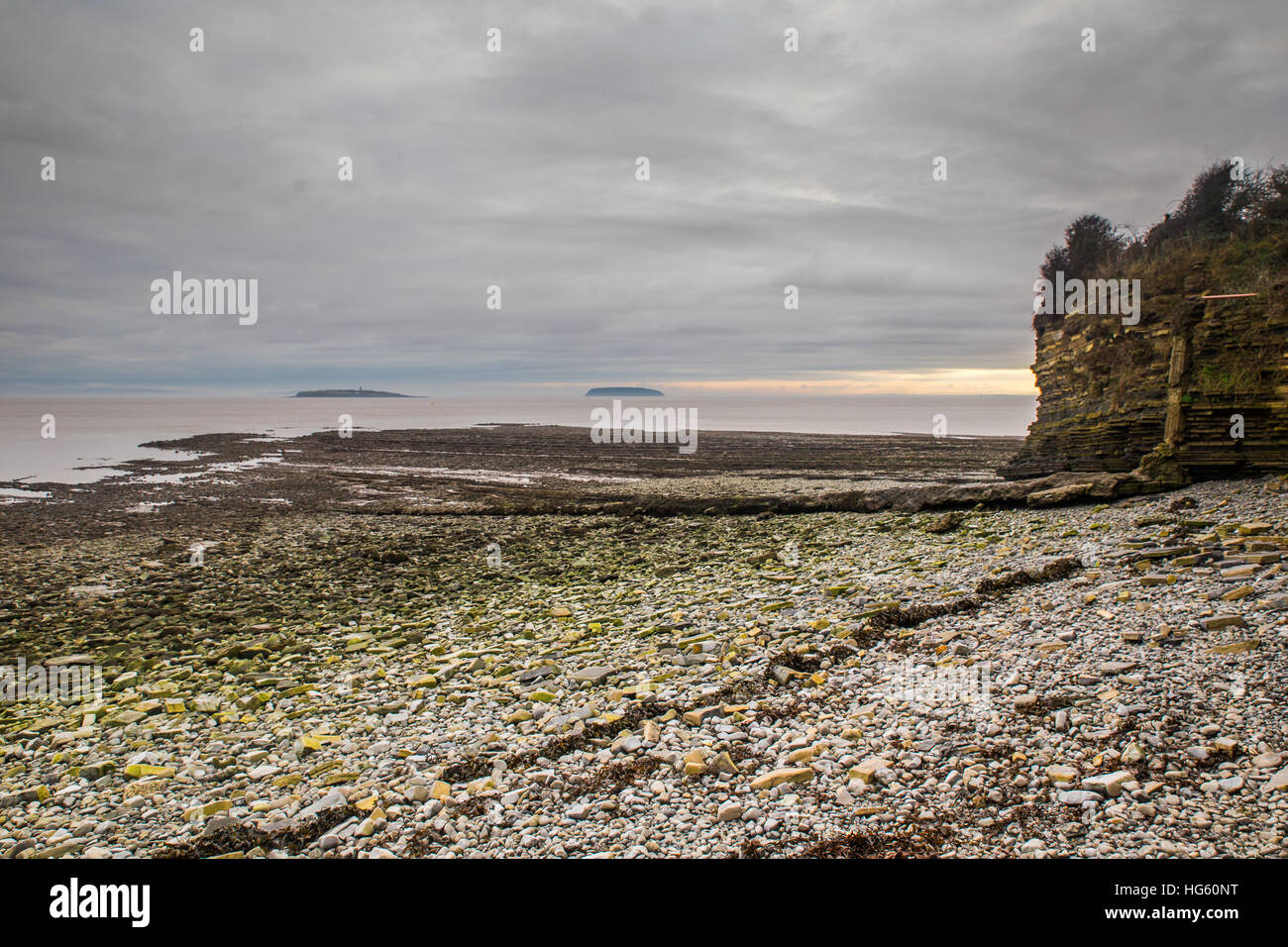 Flat Holm and Steep Holm viewed from Lavernock Point Beach. - Stock Image