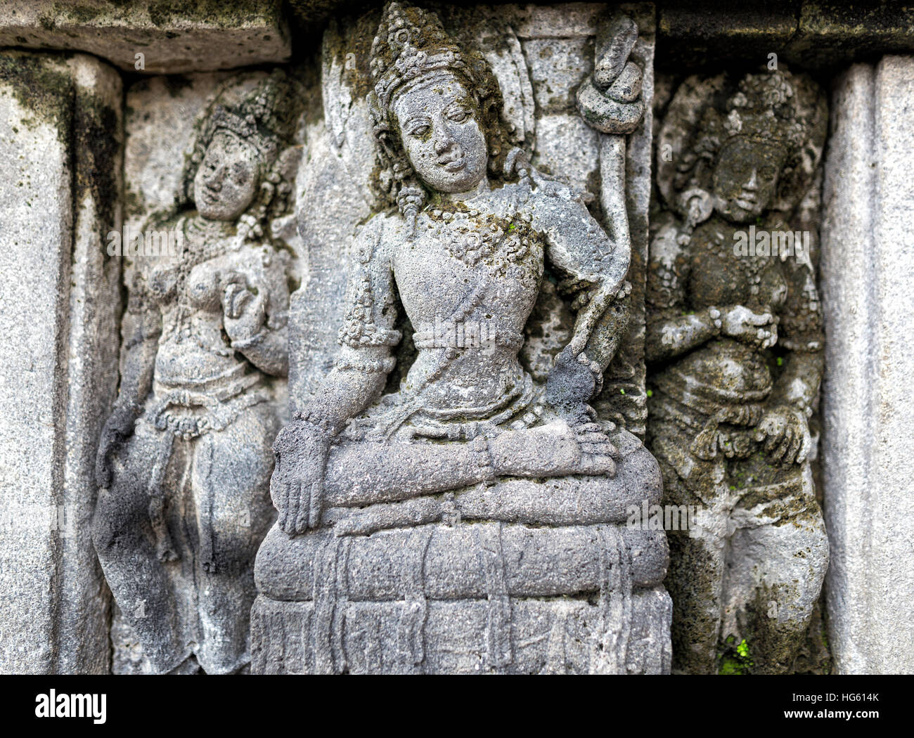 Relief panel of Prambanan Temple, Central Java in Indonesia Asia - Stock Image